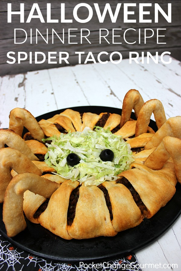 Halloween Dinner Party Menu Ideas Part - 17: HALLOWEEN DINNER IDEAS -- This Fun Kid-friendly Spider Taco Ring Is Fun To