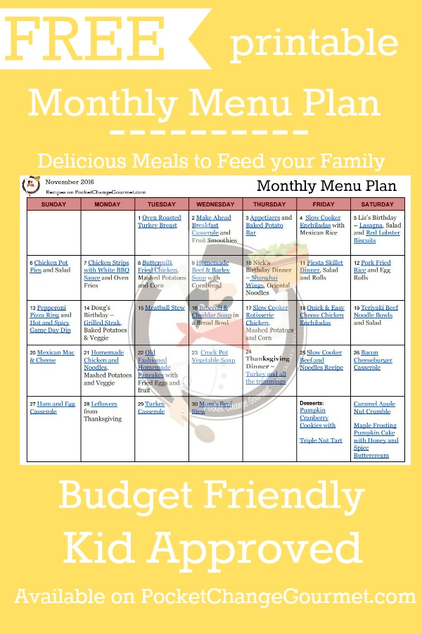 Delicious meals to feed your family in the Printable November Monthly Menu Plan! Budget friendly meal plan - Kid approved! Print out your FREE copy today!