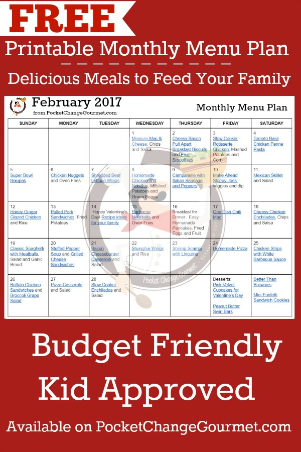 MONTHLY MENU PLAN  FREE PRINTABLE   Budget Friendly Meals for your family