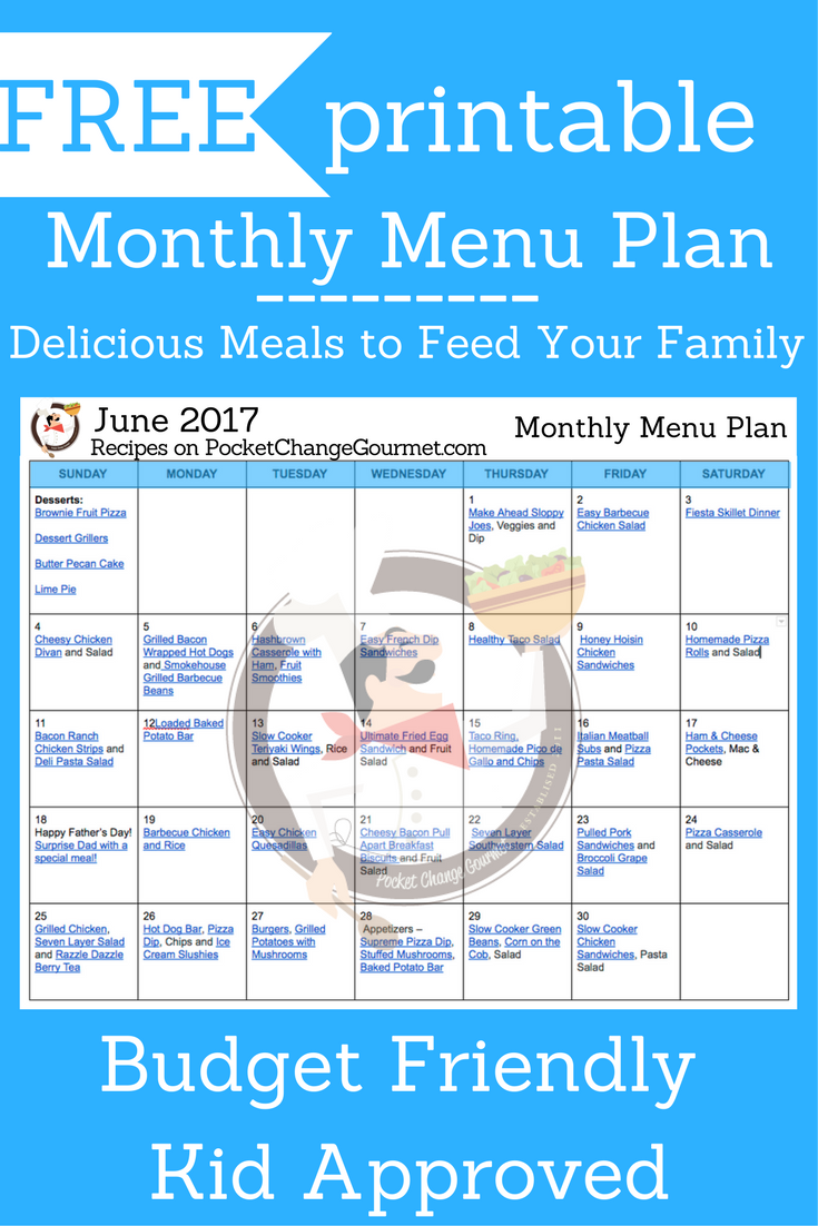 MONTHLY MENU PLAN -- FREE Printable