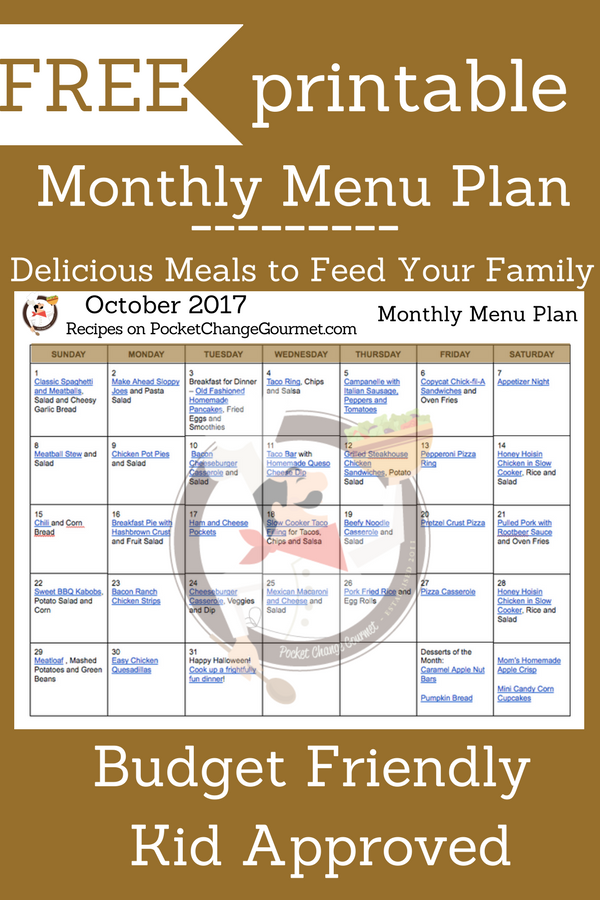 October Monthly Menu Plan