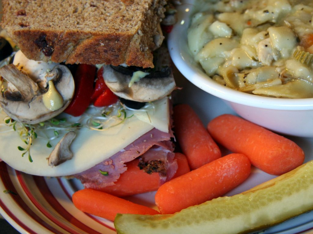 Pastrami sandwich with Soups, Salads, and Side items
