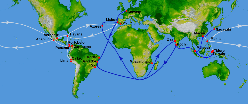 16th century spanish trade routes of common spices