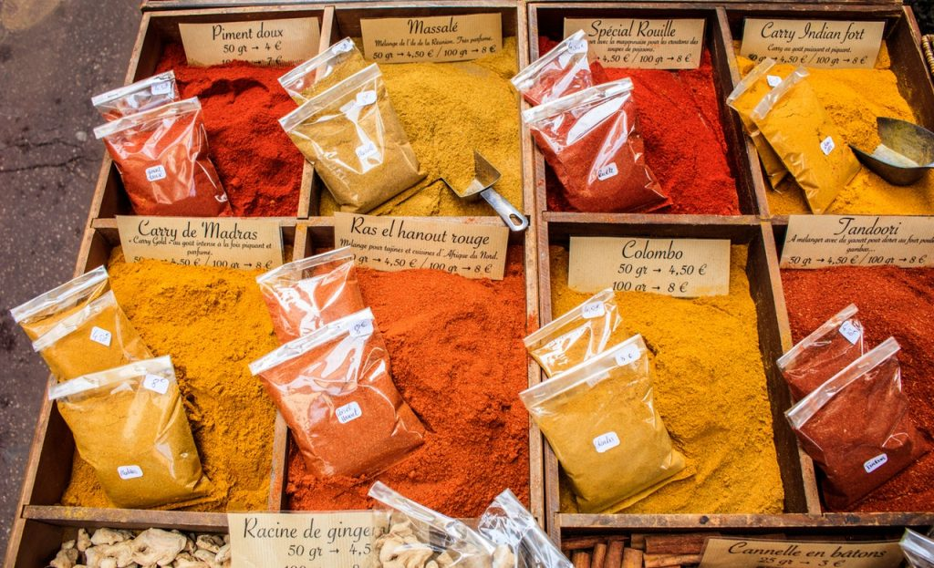 powdered spices in an organizer