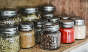 bottled spices on shelf