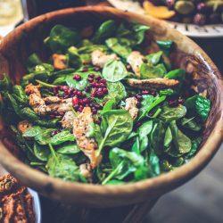 Salad healthy food wooden bowl