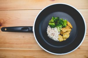 one of the best frying pans containing small servings of broccoli, meat and rice