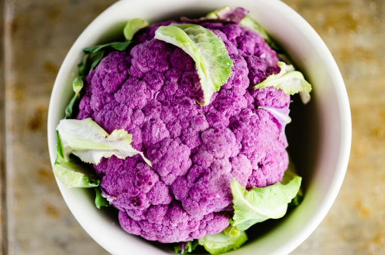 purple cauliflower in cup