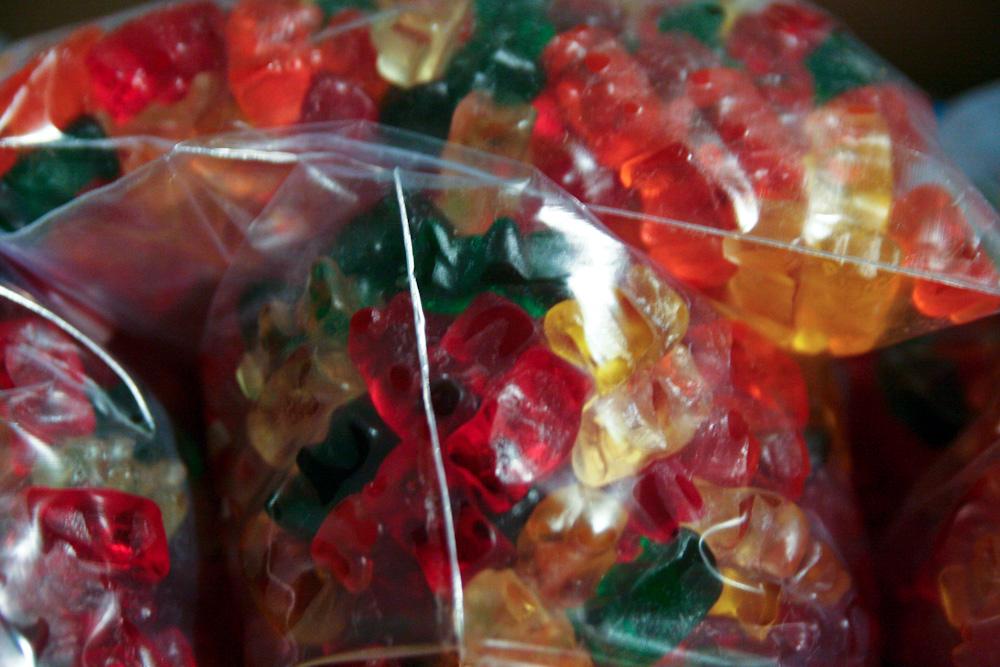 Baggies full of gummy bears